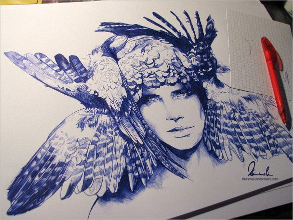 ballpoint pen icarus drawing