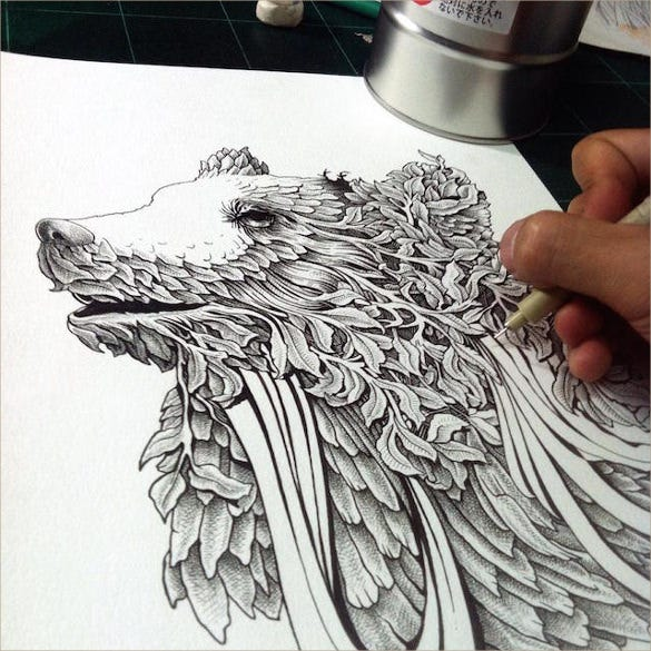 intricate pen drawing
