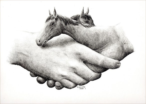 mind blowing hands horse pen drawing