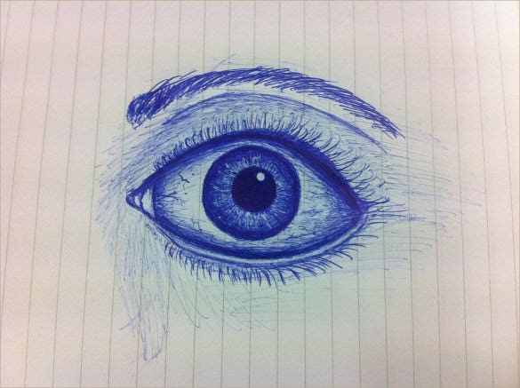 ballpoint pen drawing of an eye
