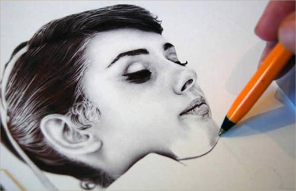girl ballpoint pen drawing