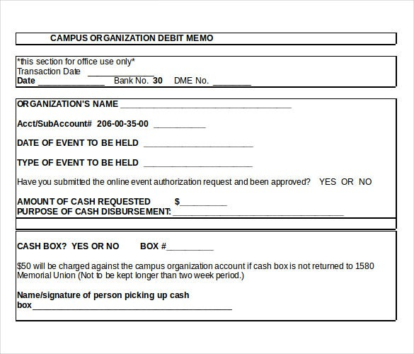 Petty Cash Debit Memo MS Word Document Download  Debit Note Sample