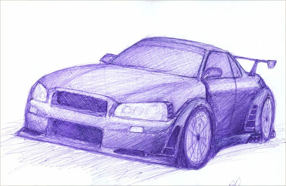 car pen drawing download