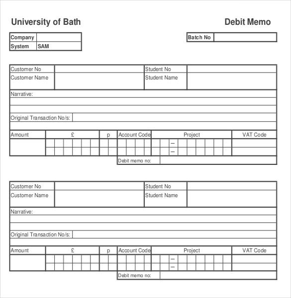 debit memo template pdf document download
