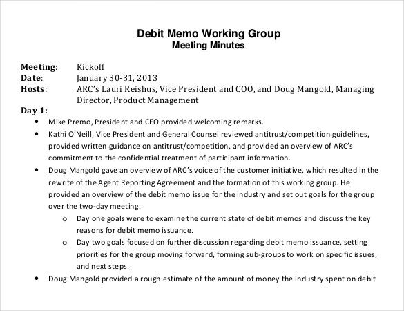 debit memo working group template pdf