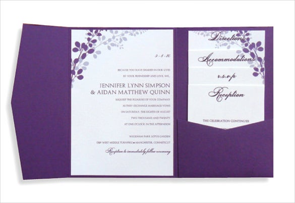 Pocket Wedding Invitation Microsoft Word Format