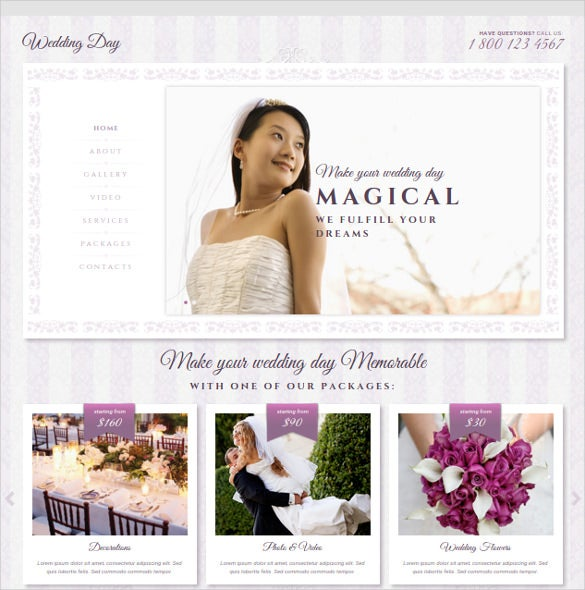 Wedding Day Bootstrap Website Template