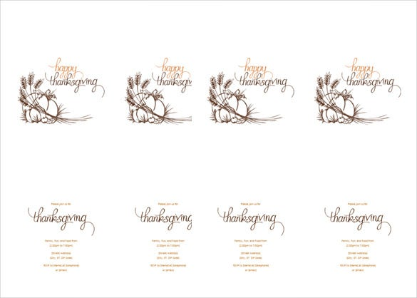 Microsoft Word Format Thanksgiving Invitation Template  Microsoft Word Invitation Templates