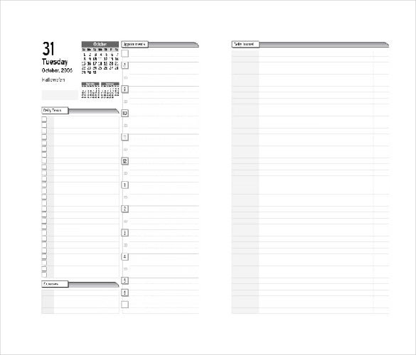 Free Real Estate Daily Planner Template In MS Word  Day To Day Planner Template Free