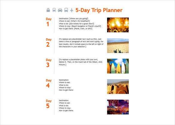 5 Day Trip Planner Template Word Format Download  Microsoft Daily Planner