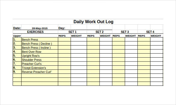 Free printable workout log sheets eoua blog for Daily work tracker template