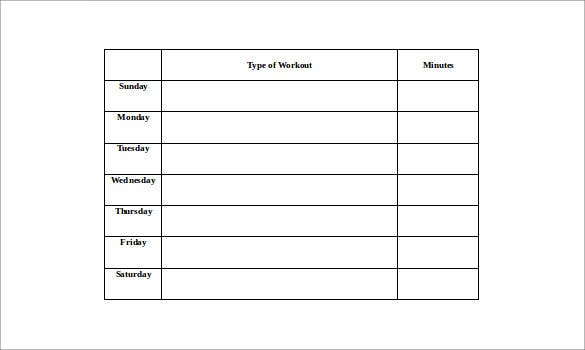 workout log template in microsoft word1