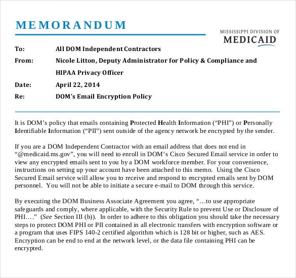 Business Memo Template. Sample Business Memo To Employees 6+