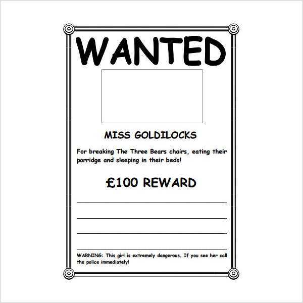 Wanted poster template word 2016