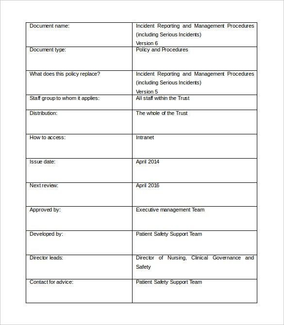incident management report template word format download