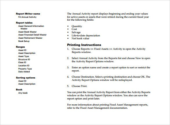fixed asset management report template pdf format download