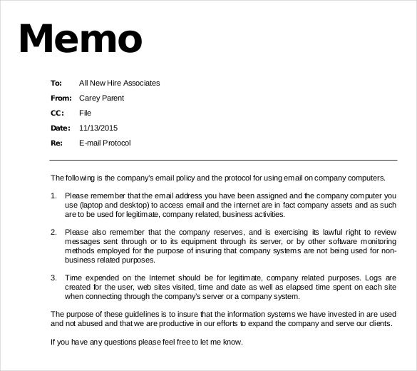 Email memo template 6 free word pdf documents download for Company email policy template