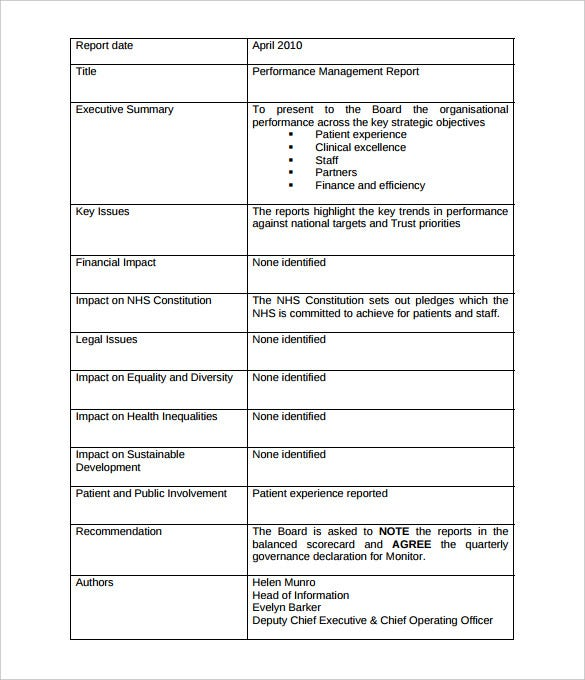 free performance management report template pdf format download