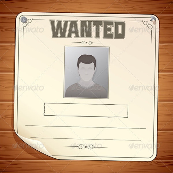 Blank Wanted Poster on Wooden Wall