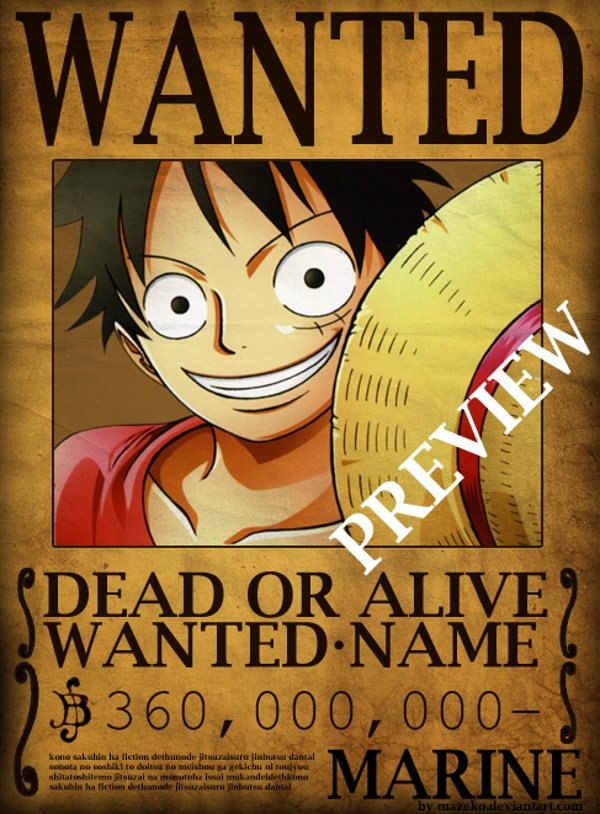 one piece wanted poster psd template