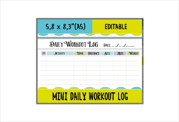Workout Log Template – 14+ Free Word, Excel, Pdf, Vector Eps