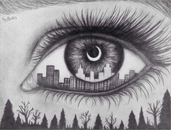 awesome eye drawing with building