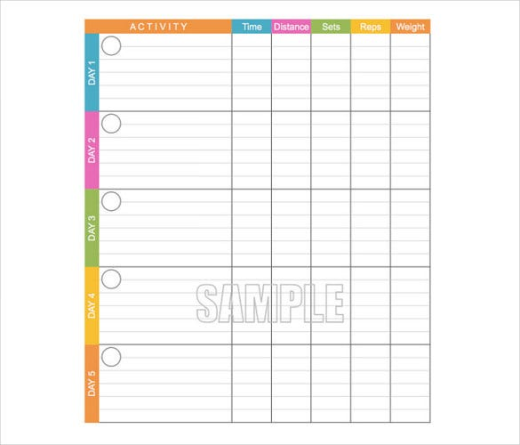 Workout Log Template   Free Word Excel Pdf Vector Eps Format
