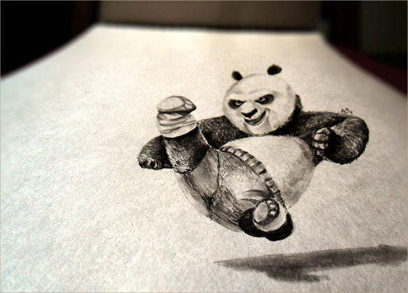 awesome fighting panda drawing