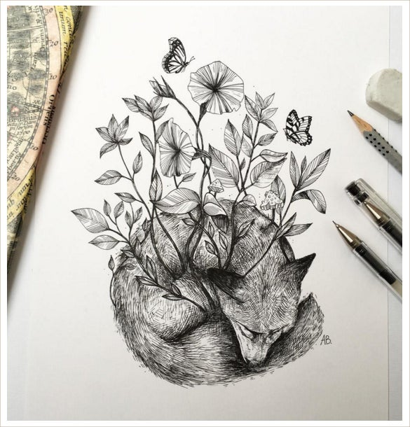 awesome nature with dog drawing