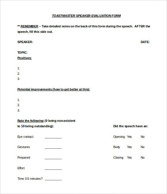toastmaster evaluation speaker form template word doc
