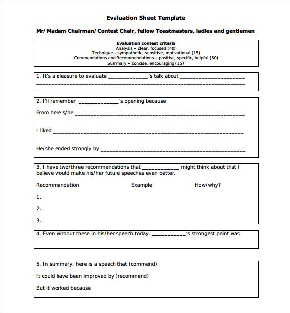 chairman toastmasters evaluation sheet template pdf printable