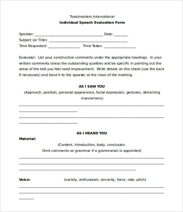 individual speech toastmasters evaluation form template download