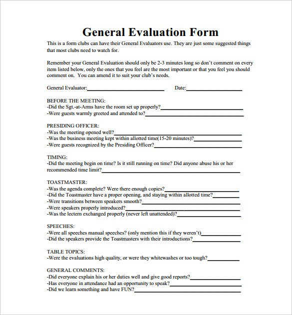 Toastmaster evaluation template 20 free word pdf documents general toastmaster evaluation form template pdf format free download accmission Choice Image