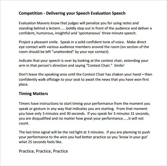 evaluate speech essay An evaluation essay is a composition that offers value judgments writing evaluation papers asks them to question selecting a topic for an essay or speech.