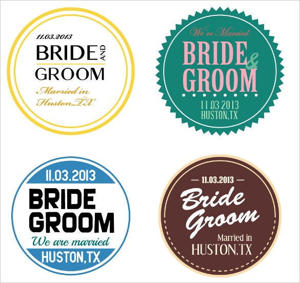 collection of wedding label templates for download