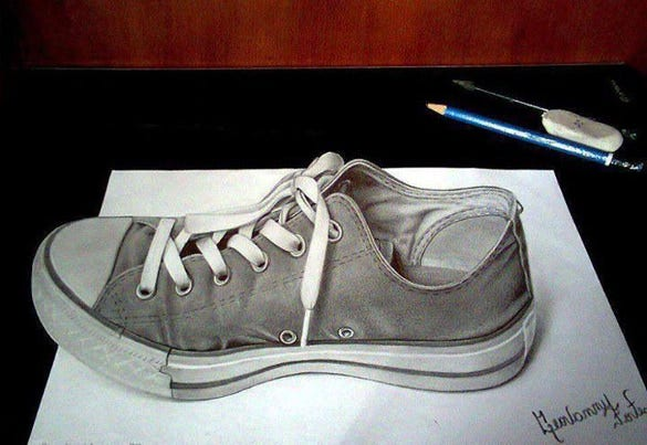 awesome 3d drawing of shoe