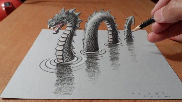 awesome 3d drawing of dragon