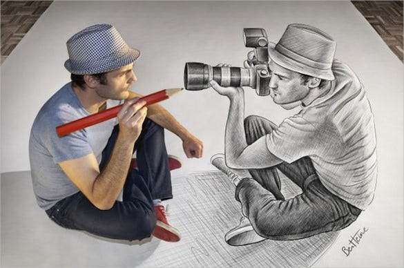 awesome pencil drawing of photographer