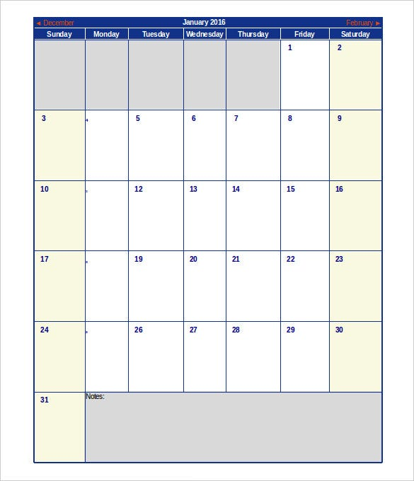 blank january 2016 calendar schedule template excel download