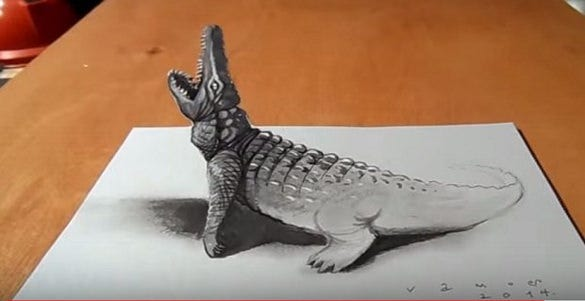 crocodile 3d drawing1