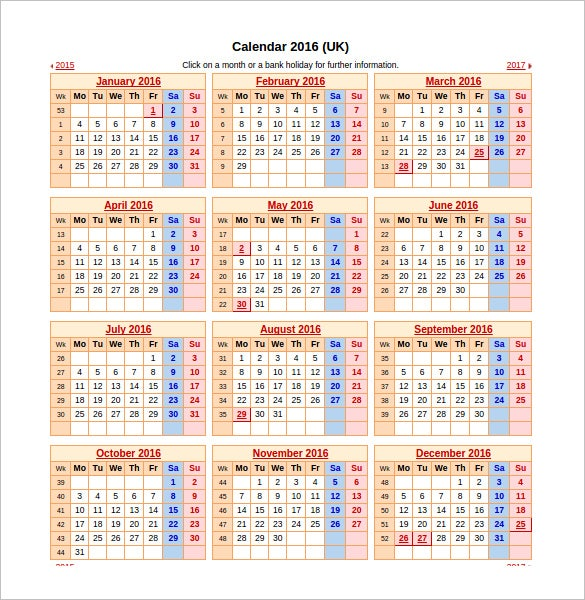 yearly uk calendar schedule for 2016 excel format download