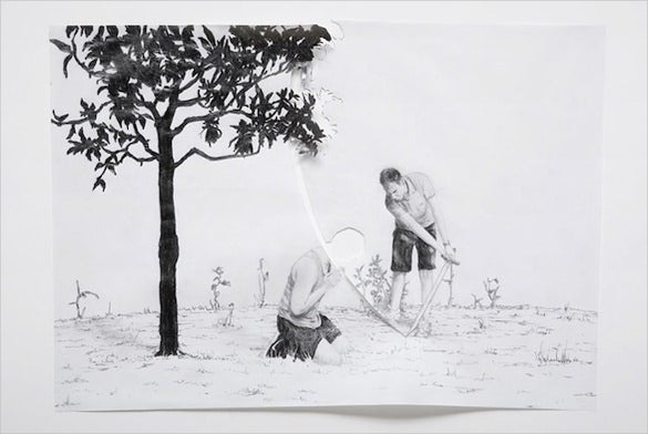 awesome pencil 3d drawing of gardener