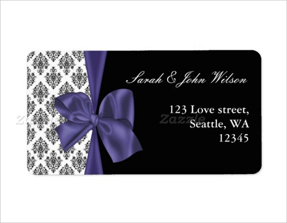 wedding label template with ribbon