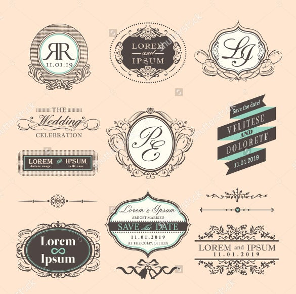 wedding label design template for download