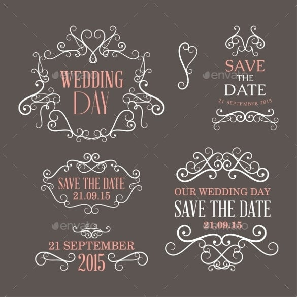 collection of wedding label designs for download