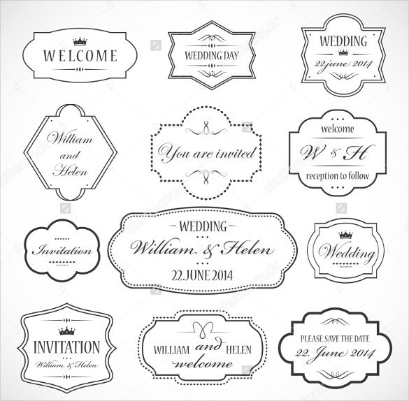 wedding label design template for easy download