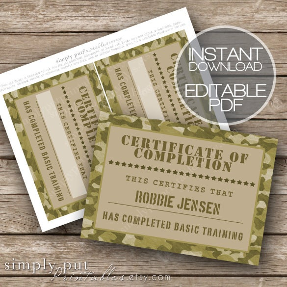 certificate of completion army camo editable download