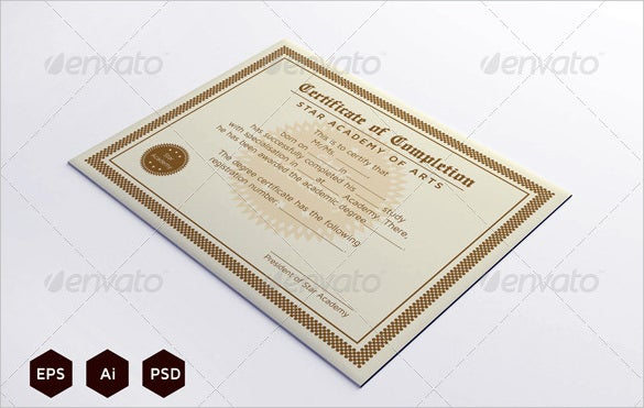 download course completion certificate template photoshop psd format