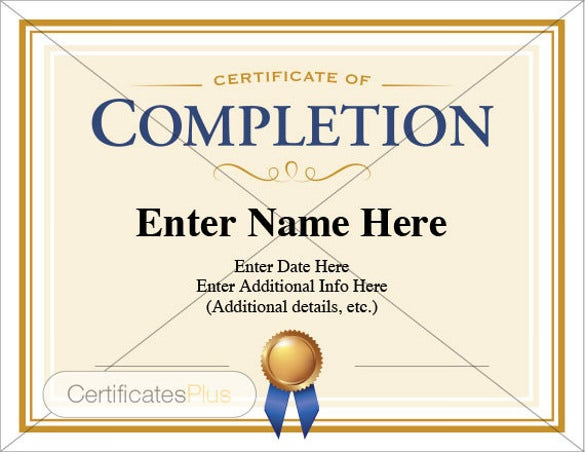 Completion Certificate Templates   Free Word Pdf Psd Eps