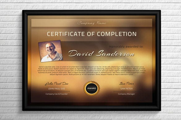 Completion certificate templates 36 free word pdf psd eps download modern completion certificate template psd format yadclub Images